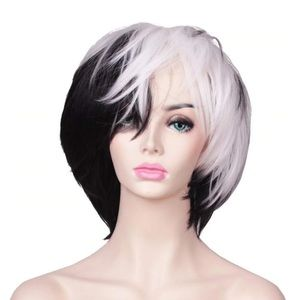 Accessories - Black And White Synthetic Wig With Bangs